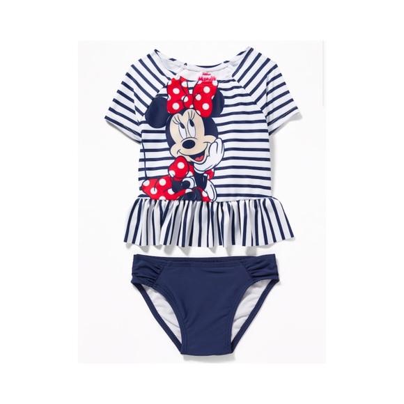 Disney Girls Minnie Mouse Two Piece Swim Set